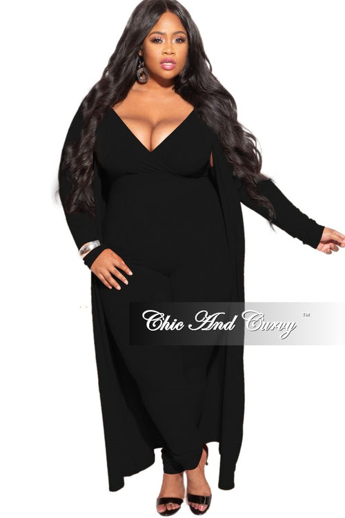 New Plus Size 2-Piece Ribbed Duster & Spaghetti Strap Jumpsuit Set in Black