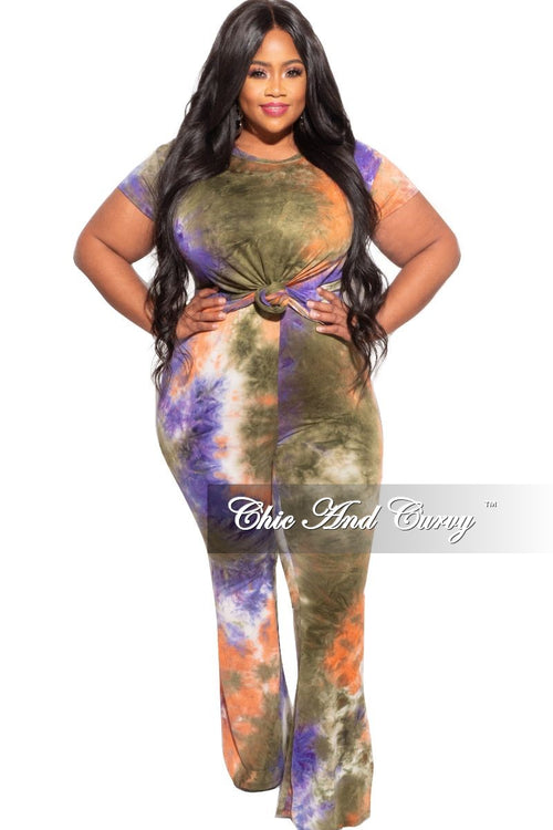 New Plus Size 2pc (Knotted Top & Palazzo Pants) Set in Orange, Purple & Olive Tie Dye
