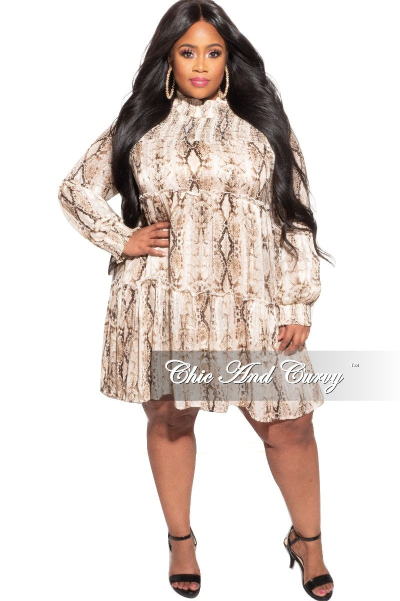 New Plus Size Mock Neck Ruffle Layer Babydoll Dress in Brown Snake