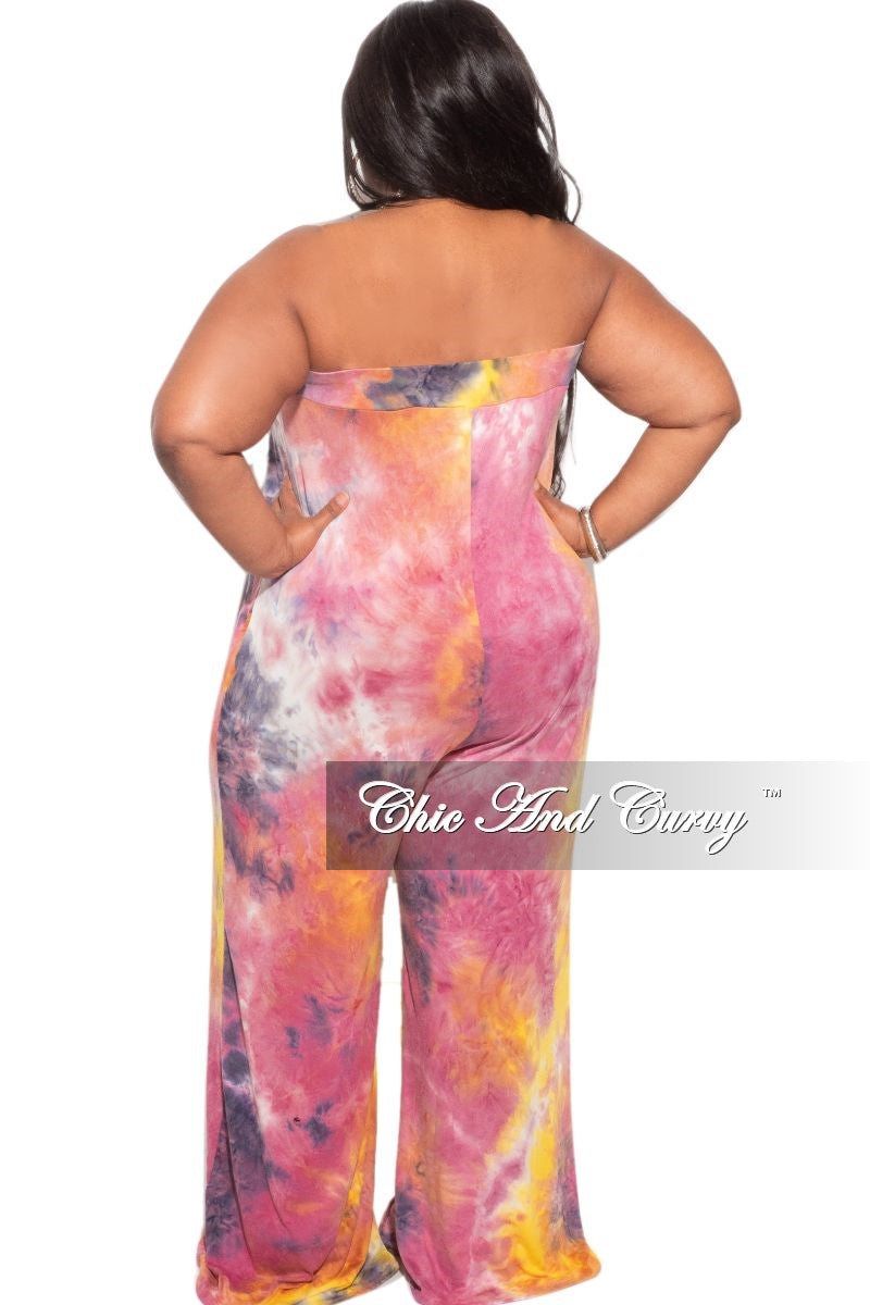 New Plus Size Strapless Wide Leg Jumpsuit in Mustard, Purple & Pink