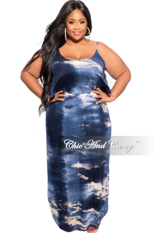 *Deal of the Day Final Sale Plus Size Spaghetti Strap Tank Dress with Ruffle in Blue Tie Dye