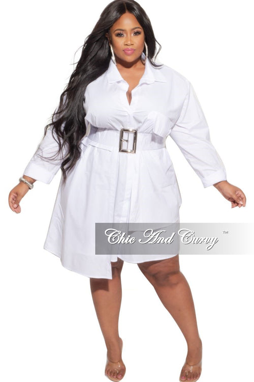 Final Sale Plus Size Hi-Low Shirt Dress in White