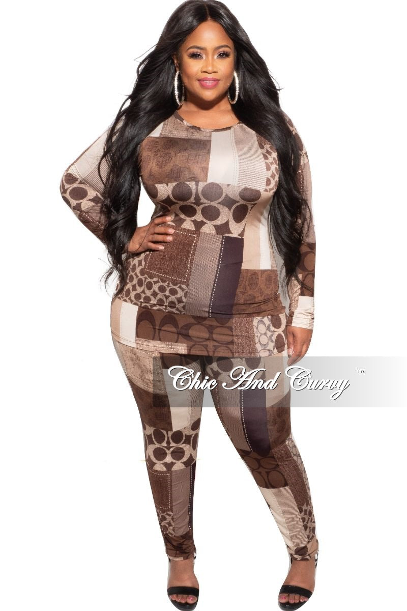 New Plus Size 2-Piece (Top & Pants) Set in Brown Print