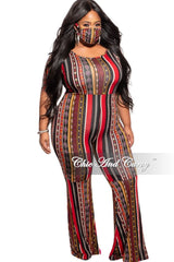 New Plus Size Bell Bottom Jumpsuit in Multicolor Stripe