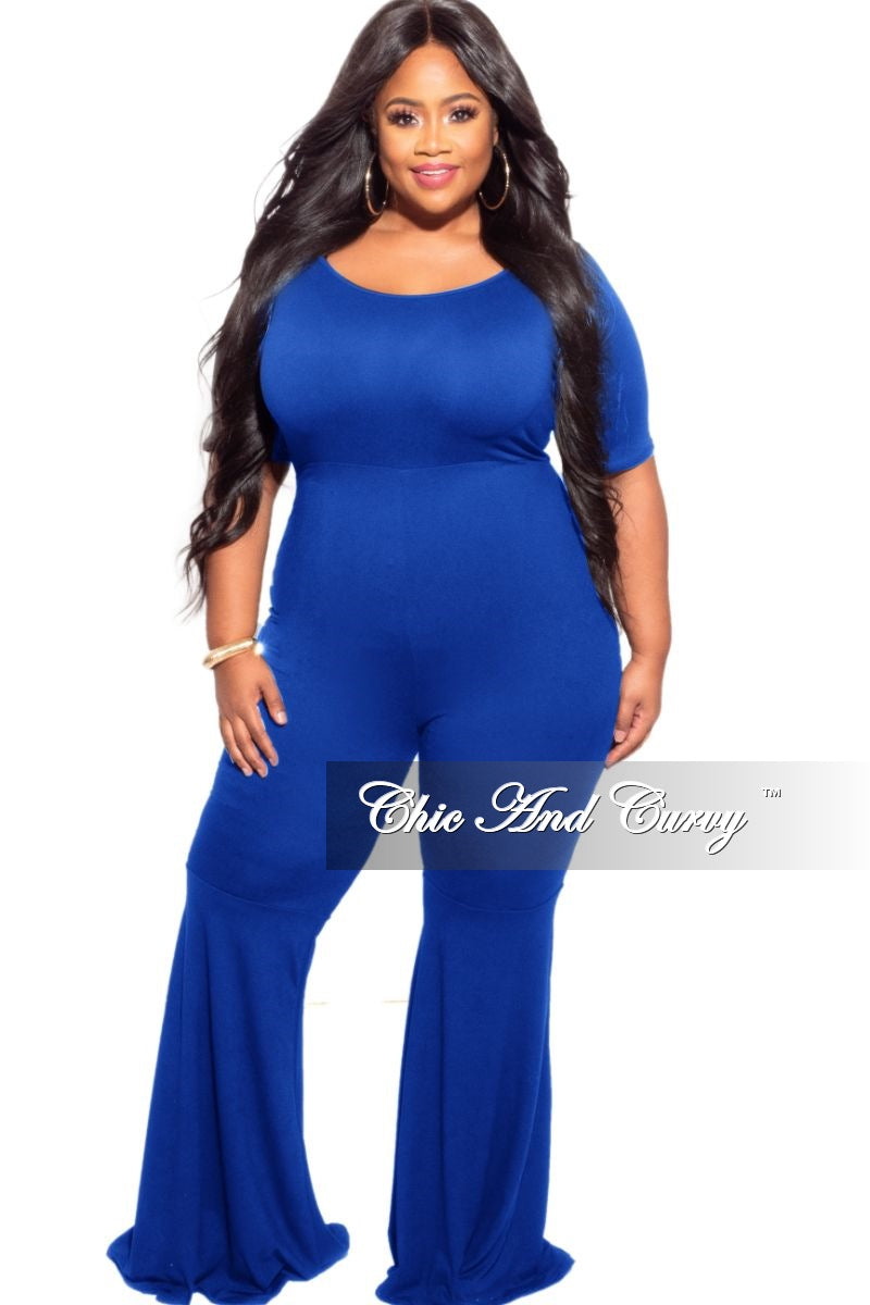 *Final Plus Size Bell Bottom Jumpsuit in Royal Blue