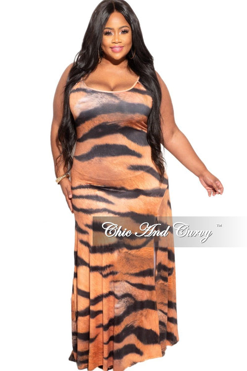 New Plus Size Dress with Slit in Tiger Print