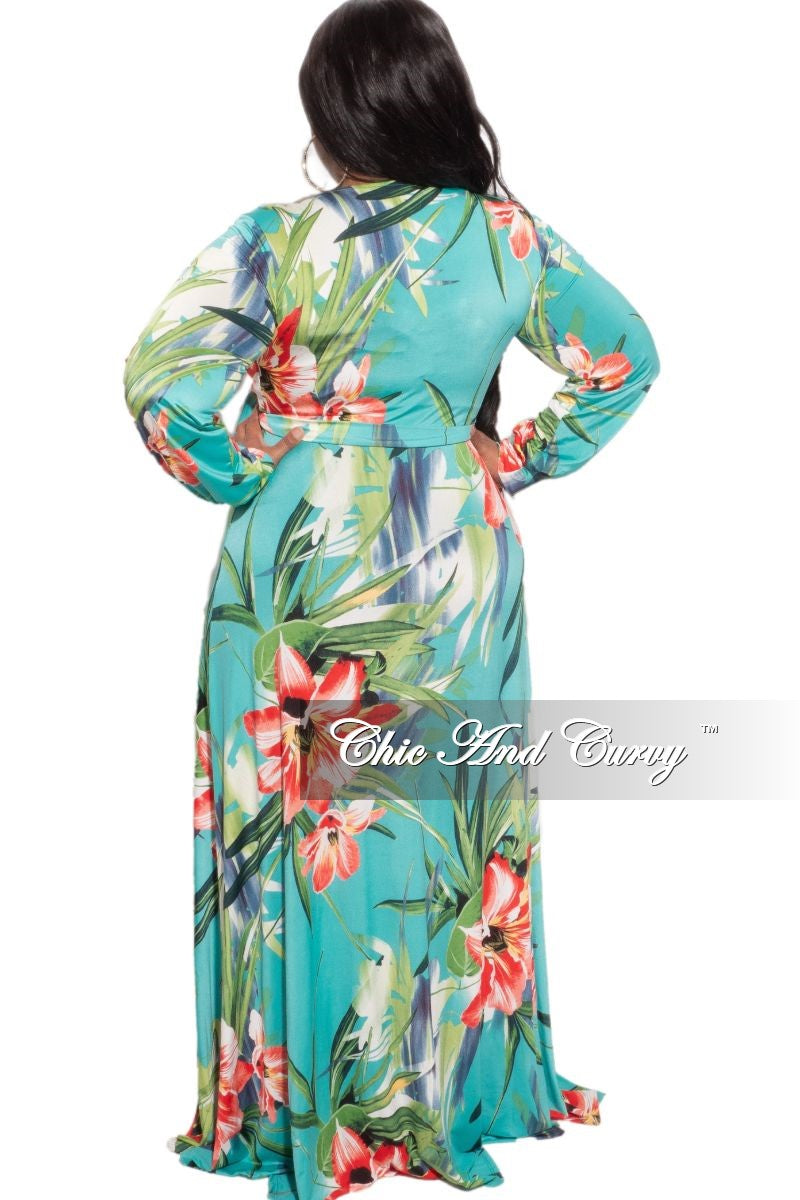 Final Sale Plus Size Faux Wrap Dress in Teal Floral Print