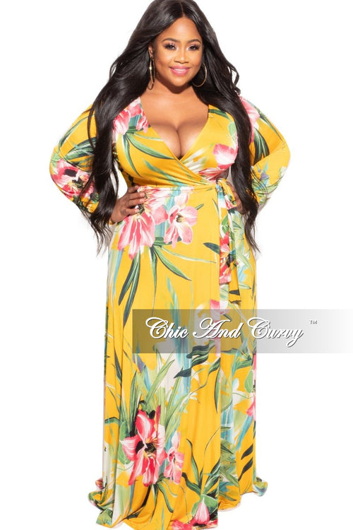 Final Sale Plus Size Faux Wrap Dress in Mustard Floral Print