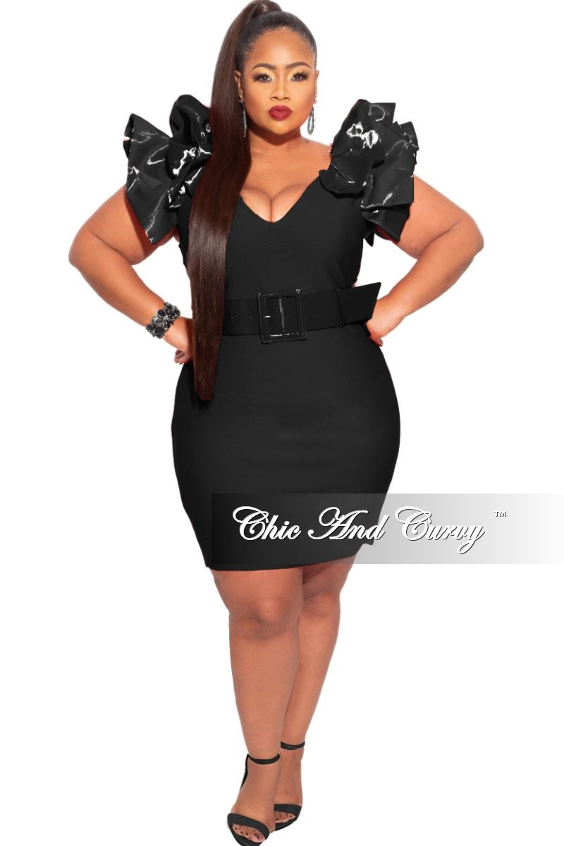 New Plus Size Ruffle Shoulder Belted Mini Dress in Black
