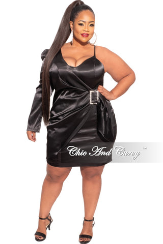Final Sale Plus Size Shirt Dress in Brown Faux Leather