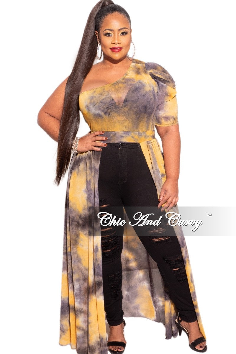 New Plus Size One Shoulder Top in Mustard & Grey