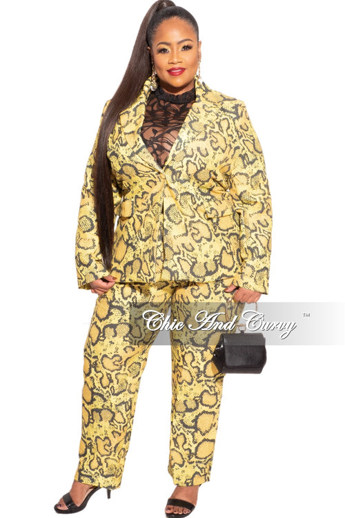 Final Sale Plus Size 2-Piece Pants Suit in Yellow and Black Snake Skin