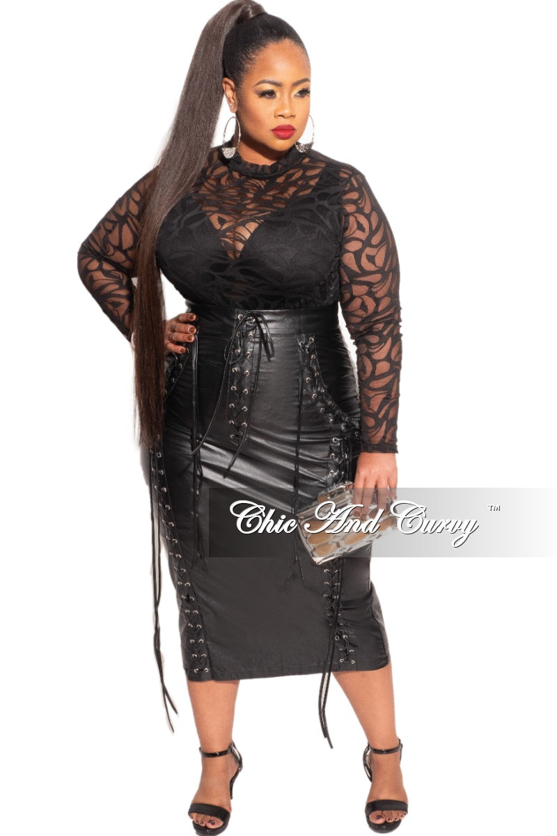 New Plus Size Faux Leather Skirt in Black