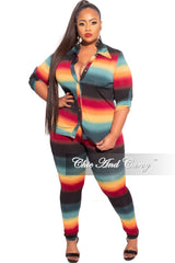 Final Sale Plus Size 2-Piece Button Up Collar Top and Pants Set in Dark Ombré Print