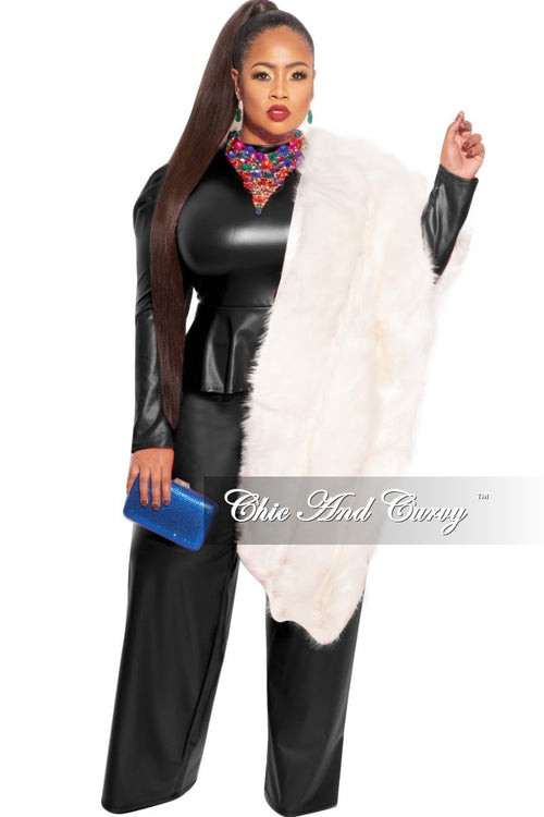 Final Sale Faux Fur Layered Stole in Ivory