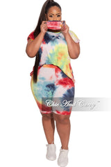 New Plus Size 2-Piece (Oversize Top with Shoulder Pads & Bermuda Short) Set in Colorful Tie Dye Print