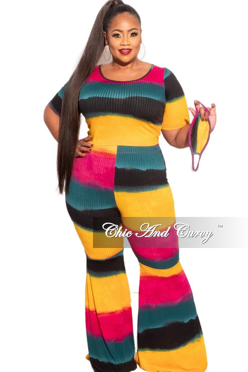 New Plus Size 2 pc Set Ribbed Top & Bell Bottom Pants in Multi-Colors