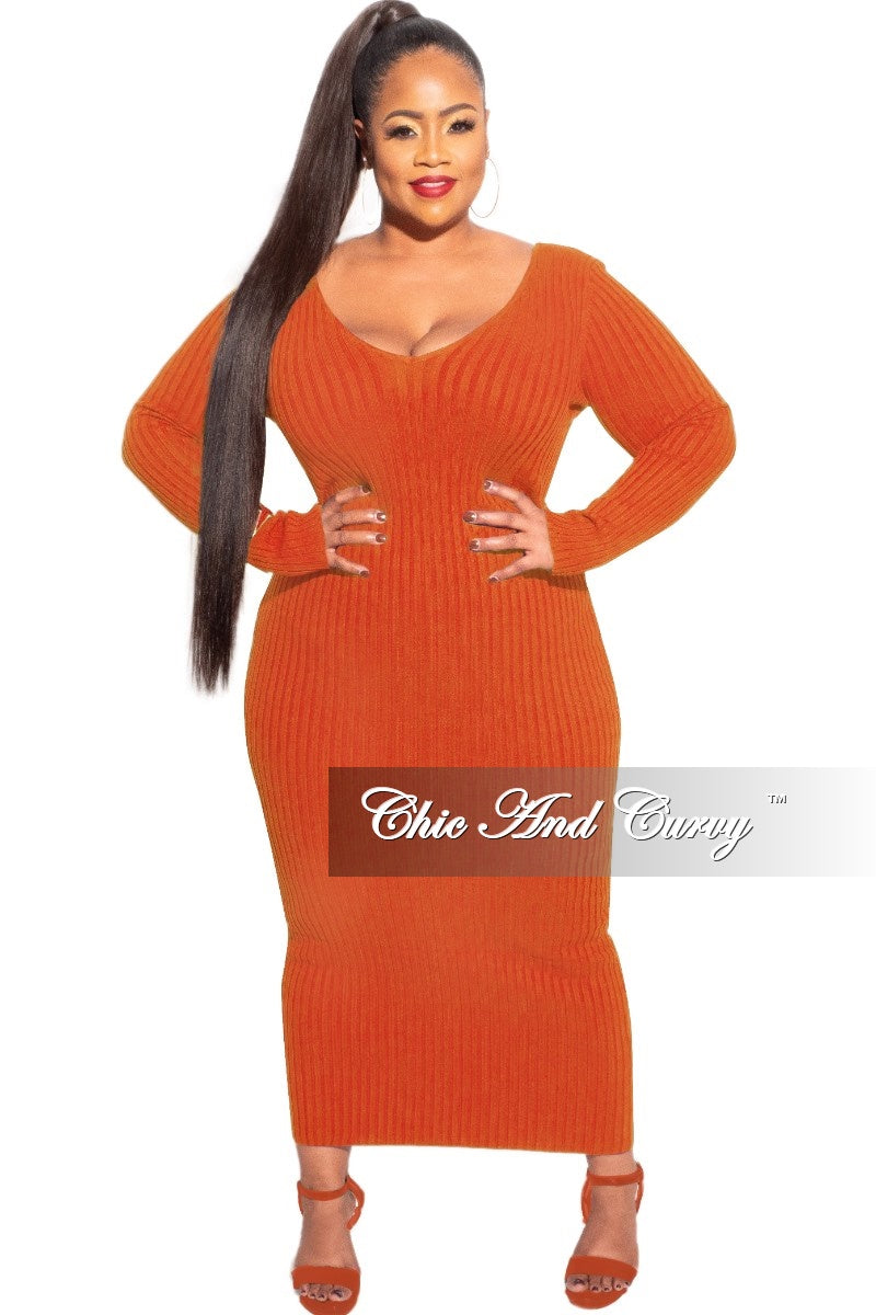 Final Sale Plus Size BodyCon Ribbed Knit Dress in Rust