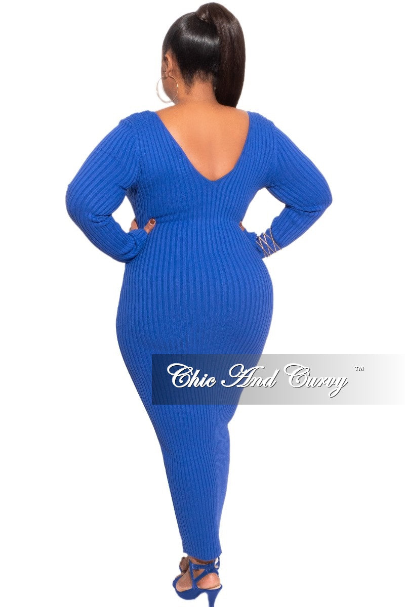 Final Sale Plus Size BodyCon Ribbed Knit Dress in Royal Blue