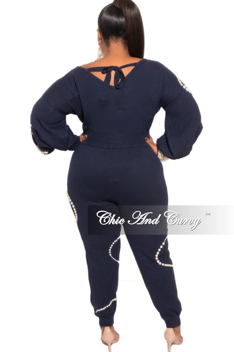 Final Sale Plus Size 2-Piece Pearl Knit Jogger Set in Navy