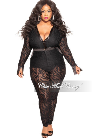 Final Sales Plus Size 2-Piece Faux Leather Balloon Sleeve Tie Top and Pants Set in Black