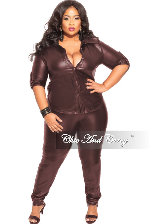 Final Sales Plus Size 2-Piece Faux Leather Long Sleeve Tie Top and Pants Set in Dark Wine
