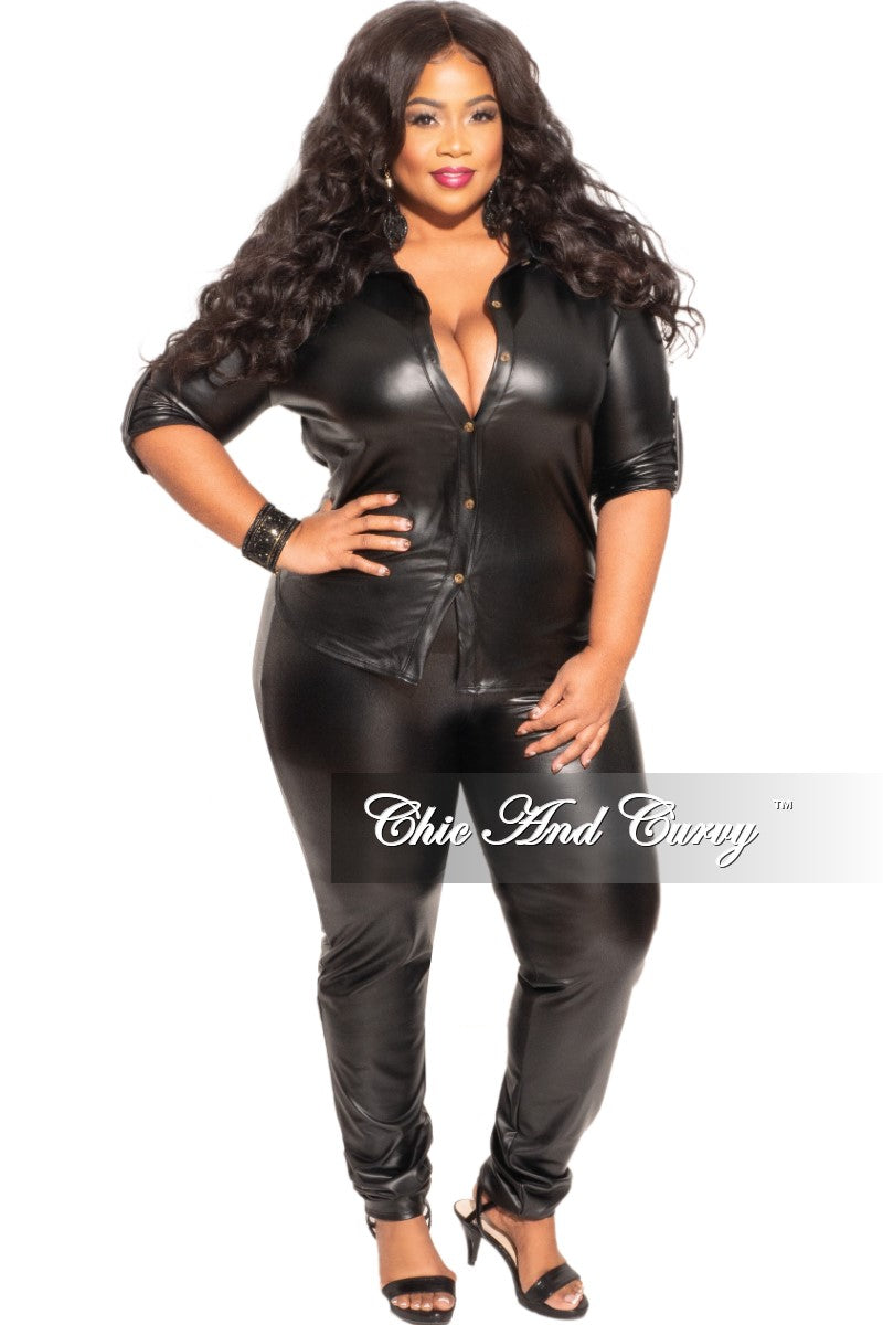 Final Sales Plus Size 2-Piece Faux Leather Long Sleeve Tie Top and Pants Set in Black