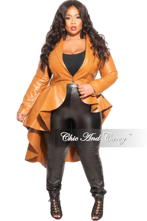 Final Sale Plus Size Jacket with Unfinished Hem /Edges in Camel