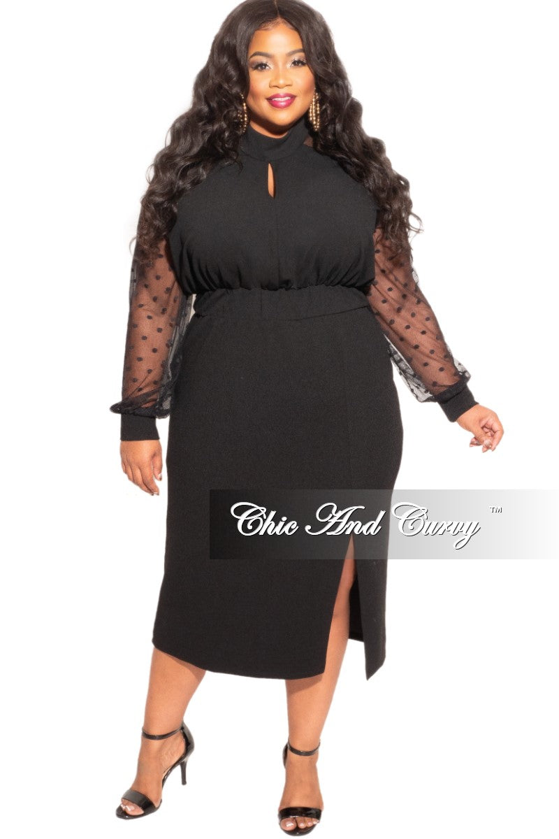 Final Sale Plus Size High Neck Polka Dot Mesh Top Dress in Black
