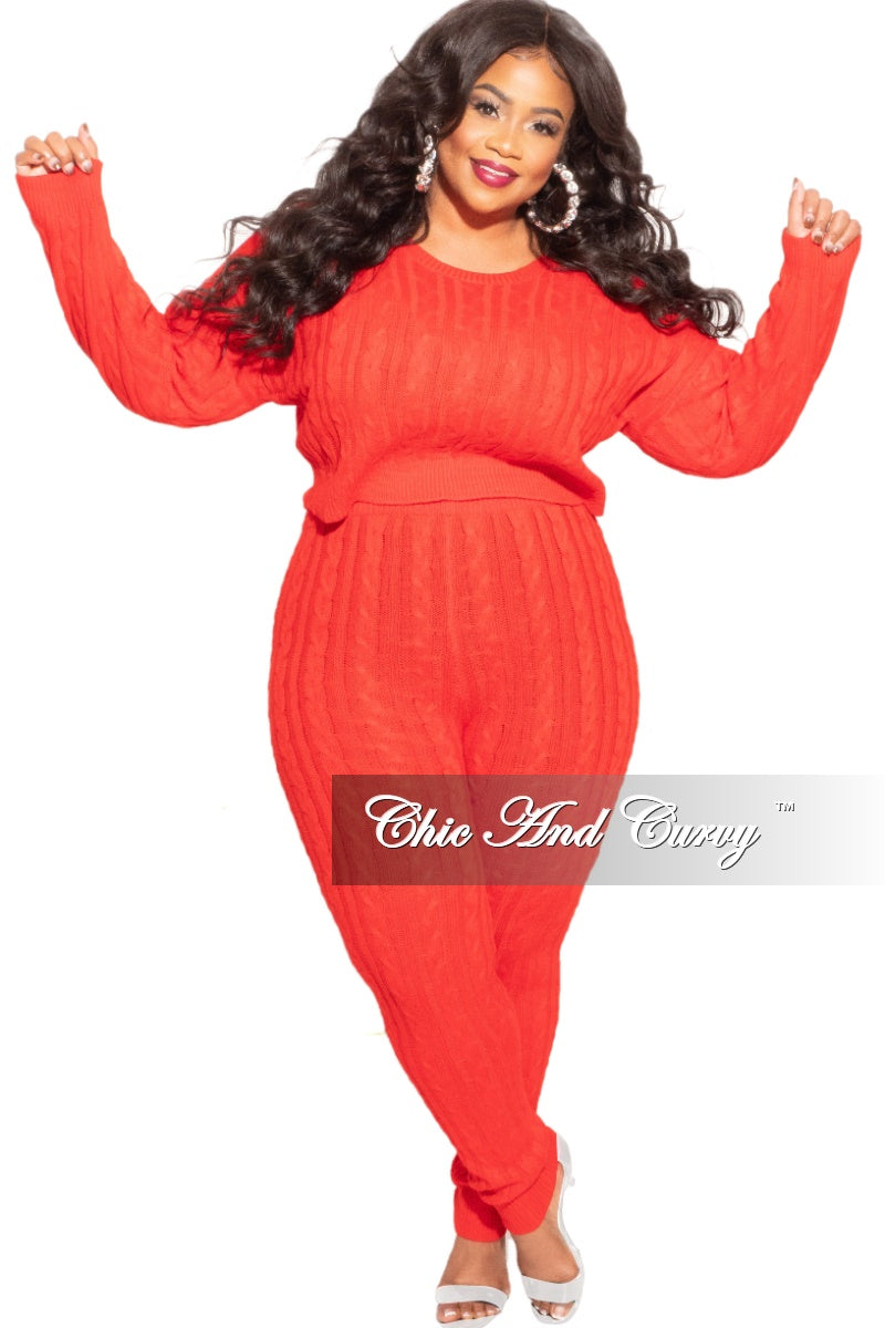 Final Sale Plus Size 2-Piece Sweater Pants Set in Red