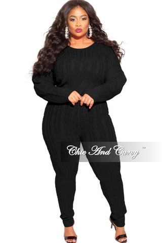 Final Sale Plus Size 2-Piece Split Shoulder Jacket and Pants Set in Black with White Stripe
