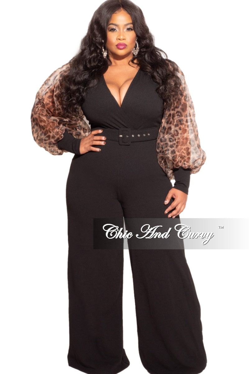 Final Sale Plus Size Animal Print Sheer Organza Sleeved Faux Wrap Belted Jumpsuit in Black