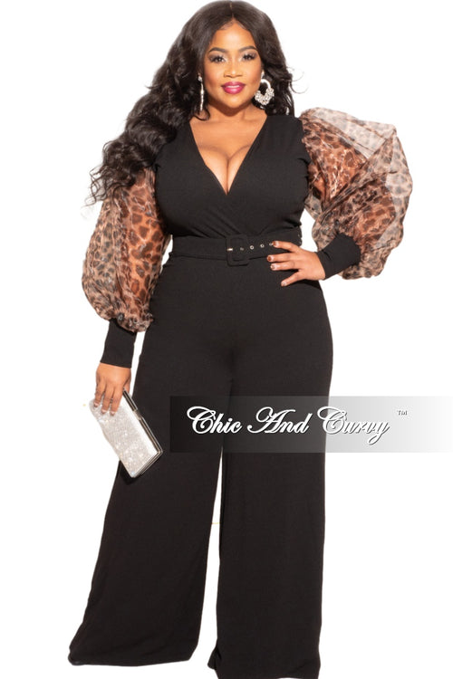 Final Sale Plus Size Animal Print Sheer Sleeved Faux Wrap Belted Jumpsuit in Black
