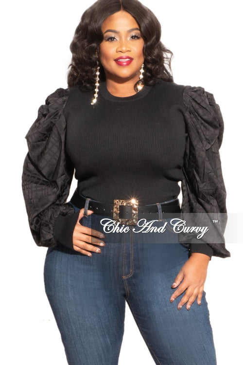 New Plus Size Top with Puffy Sleeves in Black