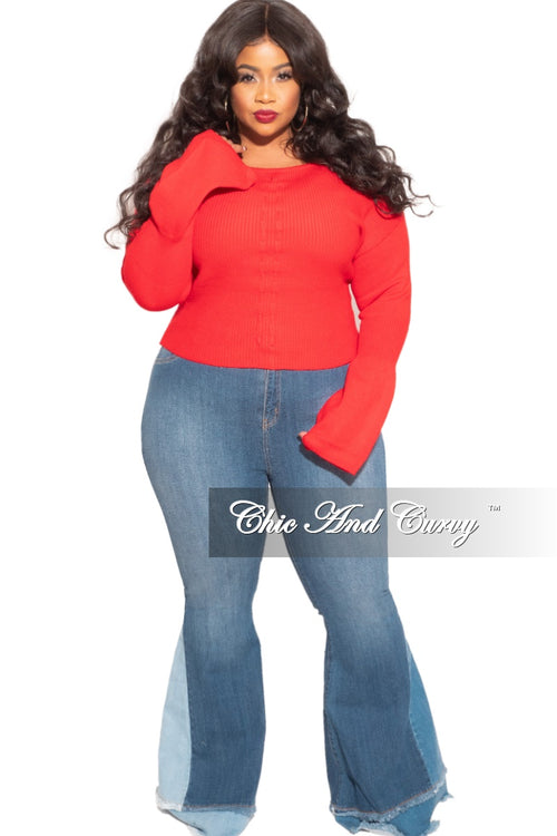Final Sale Plus Size Sweater with Ruched Drawstring Front in Red