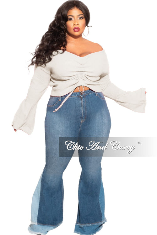 Final Sale Plus Size Sweater with Ruched Drawstring Front in Ivory