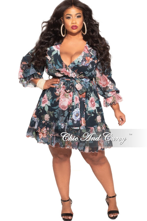 Final Sale Plus Size Chiffon Babydoll Dress in Pink & Black Floral Print