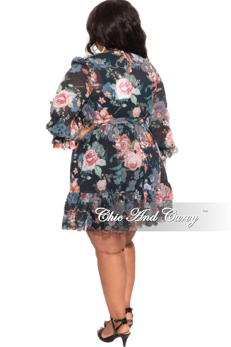 New Plus Size Chiffon Babydoll Dress in Pink & Black Floral Print