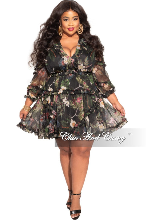 Final Sale Plus Size Chiffon Babydoll Dress Forest Floral Print