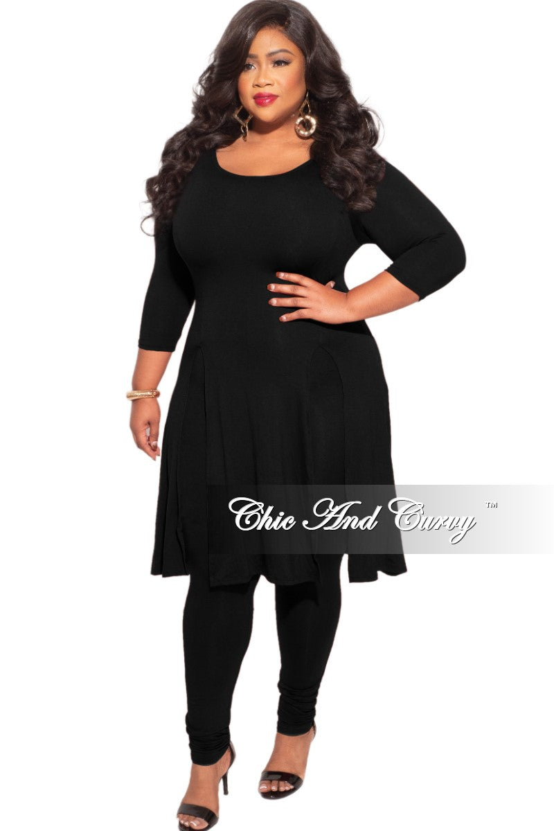 Final Sale Plus Size 2pc Double Split Top and Leggings Set in Black