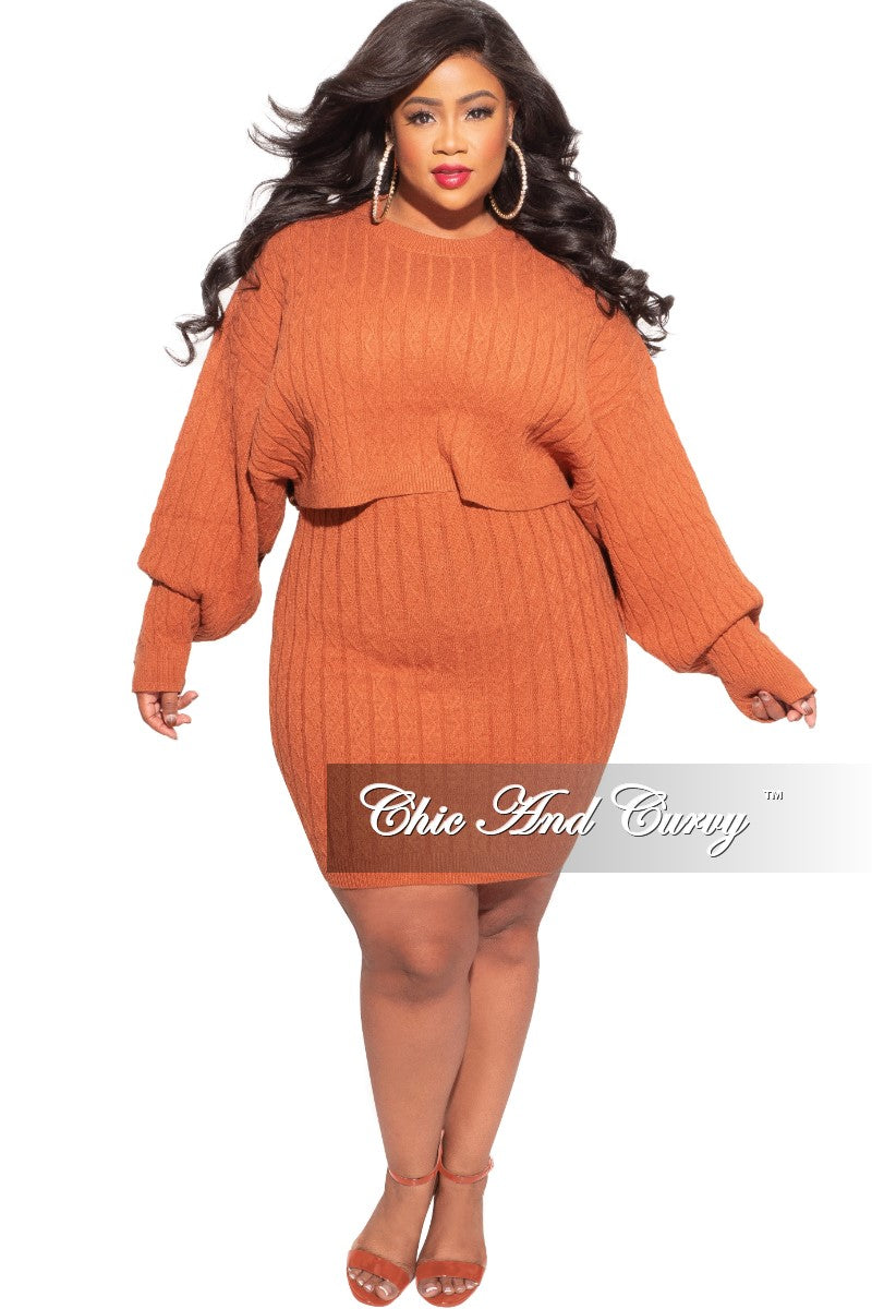 New Plus Size 2-Piece Ribbed Top and Skirt Set in Brick