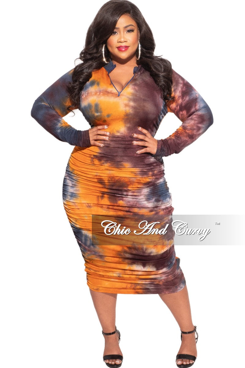 New Plus Size Ruched Sides BodyCon Midi Dress in Rust & Navy Tie Dye