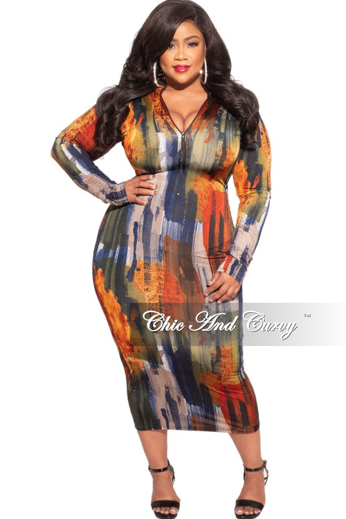 Final Sale Plus Size Reversible Long Sleeve BodyCon Dress in Dark Brush Stroke Print