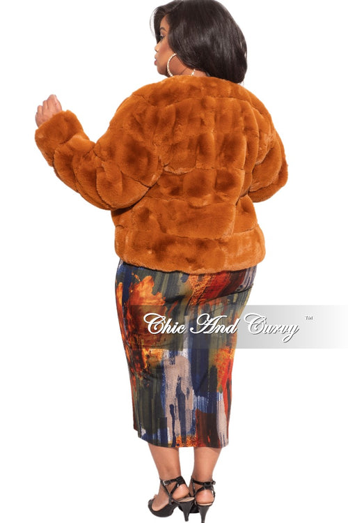 Final Sale Plus Size Fur Coat in Rust
