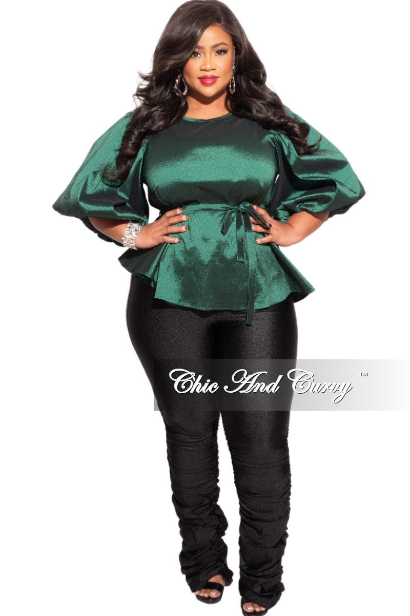 Final Sale Plus Size High Waist Ruched Leg Pants in Black