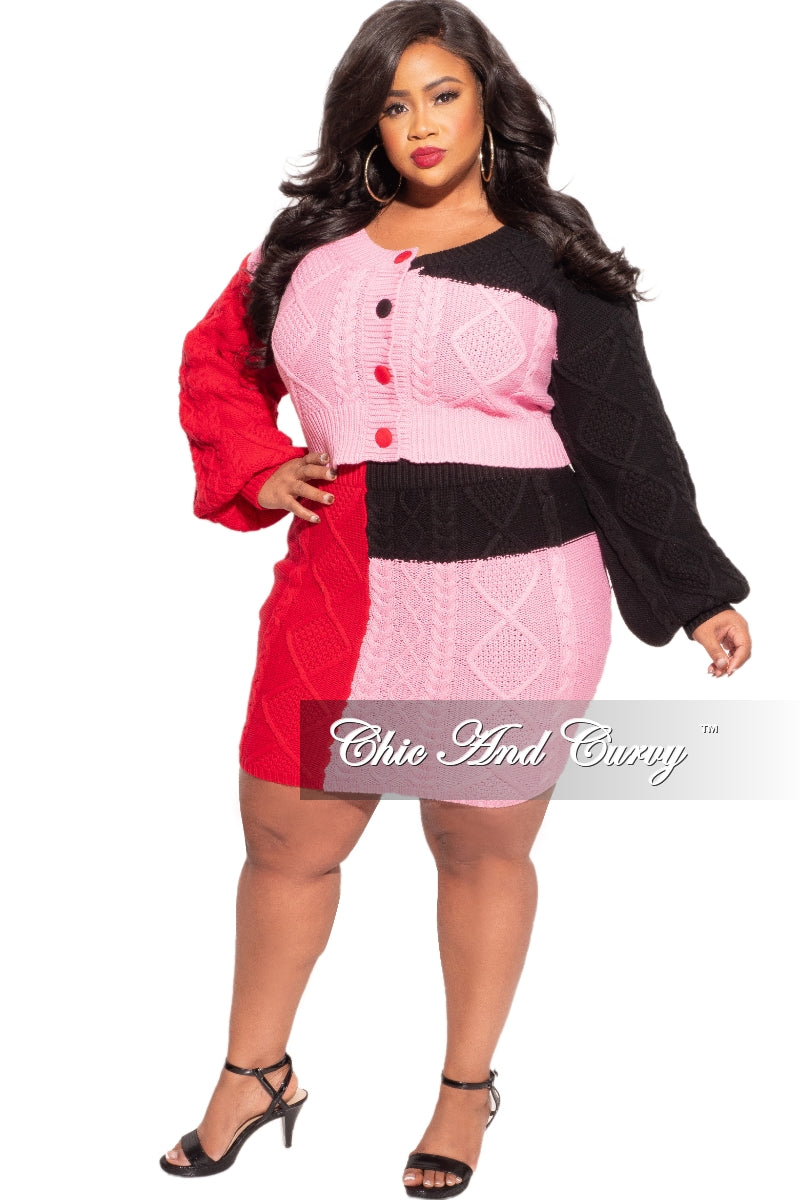 New Plus Size 2-Piece Knit Top and Skirt Set in Pink Colorblock