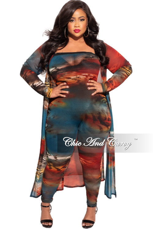 Final Sale Plus Size 2-Piece Strapless Tube Jumpsuit and Sheer Duster in Brick & Teal