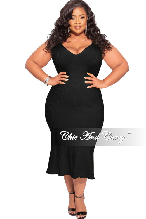 New Plus Size Spaghetti Strap Ribbed Midi Dress in Black