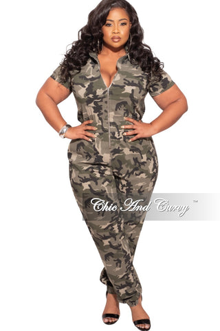 Final Sale Plus Size Deep V Faux Sequin Jumpsuit in Navy