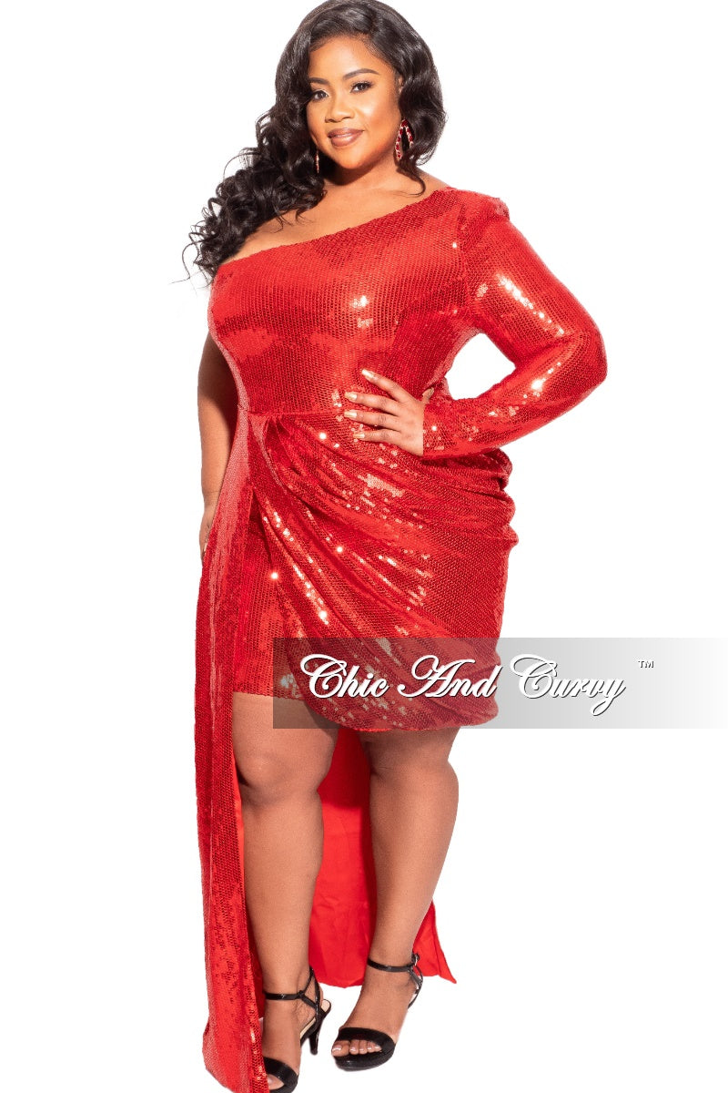 Final Sale Plus Size Sequin Mini Dress in Red